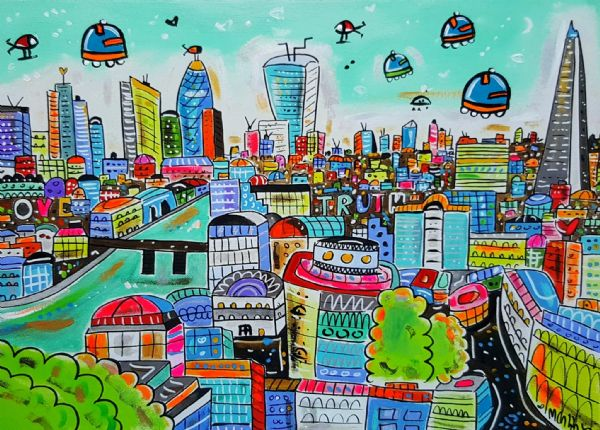Cartoon London, hand painted giclee